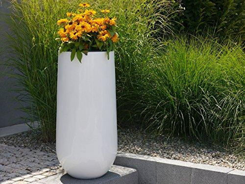 Blumenkübel SOTO Ø40x H80cm aus Fiberglas in Hochglanz weiß ...