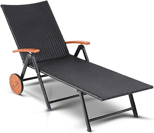 Casaria Tumbona plegable de Poliratán negro reclinable con 2 ruedas de Madera de Acacia para jardín terraza balcón: Amazon.es: Jardín