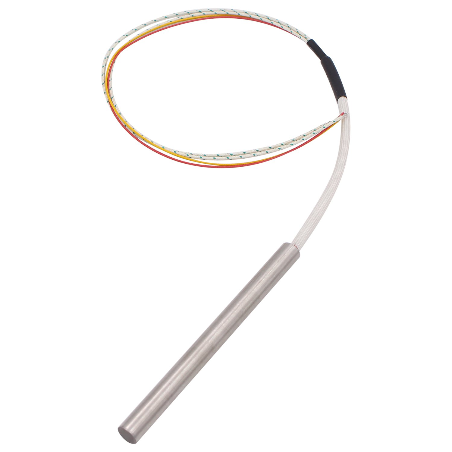 Dernord Cartridge Heater with Thermocouple, 1/2'' Diameter, 6'' Length, 240V 750W Internally Mounted Leads Heating Element Replacement