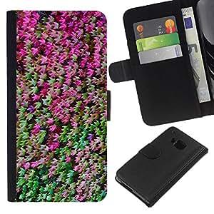 HTC One M7 Modelo colorido cuero carpeta tirón caso cubierta piel Holster Funda protección - Forest Leaves Bush Tree Green Purple