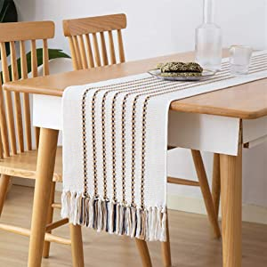 Monibana Farmhouse Navy Coffee Stripe Handmade Cotton Woven Tassels Heavy Weight Table Runner for Home Bedroom Rustic Wedding Party Coffee Dining Table Decor Ivory White 102 Inch