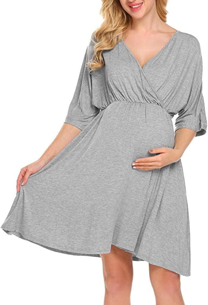 Pregnant Womens Floral Wrap Belt Mini Dress V Neck Short Sleeve Maternity Dress