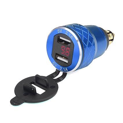Alamor 12V-24V 4.2A Volt/ímetro Rojo Motocicleta Dual USB Cargador DIN Socket para BMW Moto Azul
