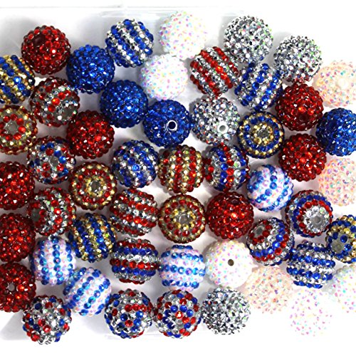 20mm Mix of 52 Patriotic Red, White, Blue Silver Rhinestone Chunky 12 Colors Resin Gumball LooseBeads Lot Bubblegum Beads - Silver Resin Ball