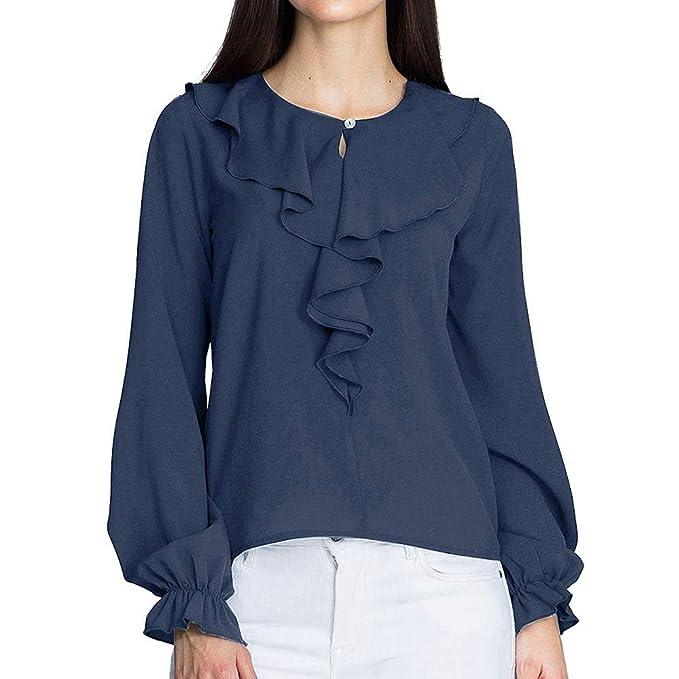 Camiseta de chifón Manga Volante Oficina,Blusa de Manga Larga de Las señoras