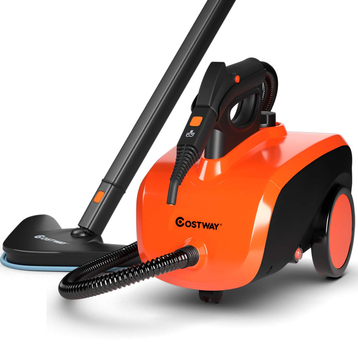 COSTWAY Multipurpose Steam Cleaner with 18 Accessories, Heavy Duty Household Steamer Chemical-Free Cleaning, 1.5L Dual-Tank Rolling Cleaning Machine for Carpet, Floors, Windows and Cars by COSTWAY