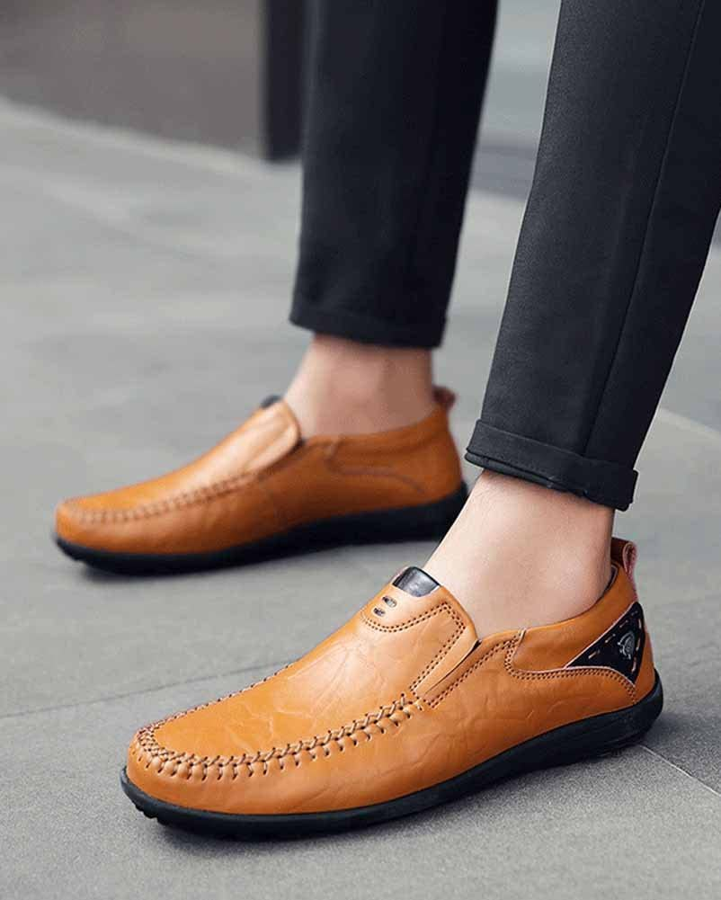 GLSHI Men Casual Driving Shoes British Flat Handmade Shoes Outdoor Fashion Loafer