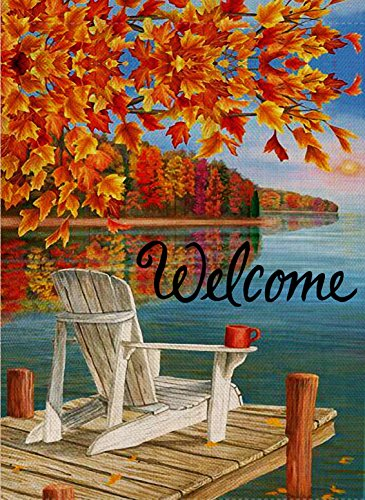 Welcome Decorative Flag - Selmad Home Decorative Fall Double Sided Garden Flag Welcome Quote, Thanksgiving Lake House Yard Flag, Autumn Maple Leaf Garden Yard Decorations, Rustic Holiday Seasonal Outdoor Flag 12 x 18 Vintage