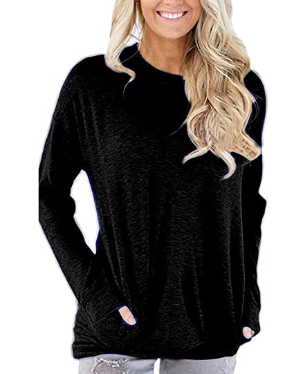 716e7621f77 Women Long Sleeve Casual Tunic Tops Sweatshirt Crew Neck Plain Loose T  Shirts Blouse Cotton