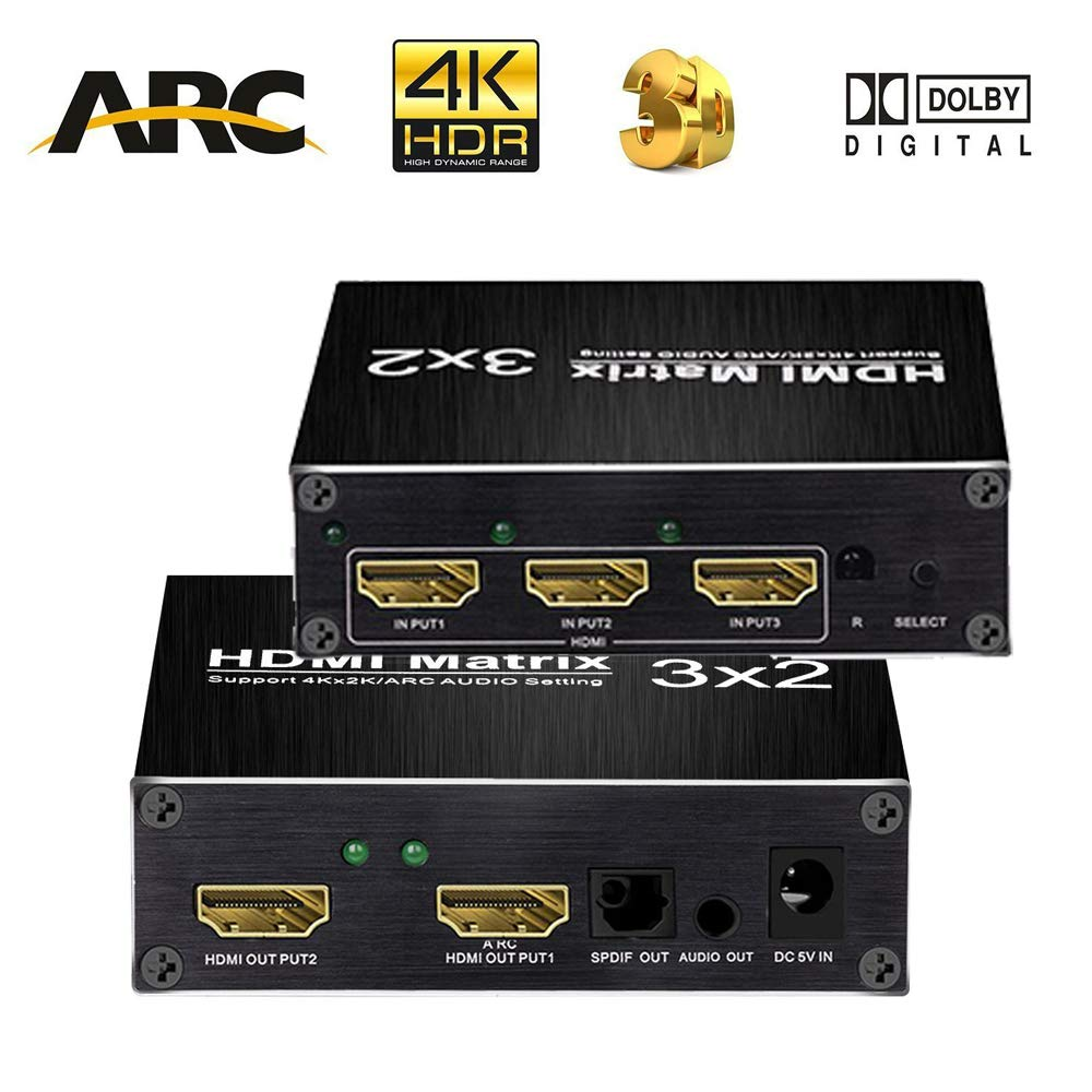 4K HDMI Matrix Switch, 3 in 2 Out HDMI Matrix Switcher with SPDIF and L/R 3.5mm HDMI Audio Extractor Supports ARC Function 4Kx2K @60Hz/ 3D/ 1080P with IR Remote Controler