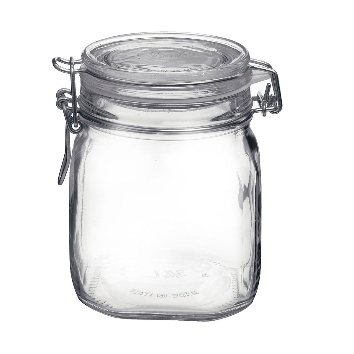Vaso vasetto terrina in vetro per conserve anche per servire da 750 ml della Bormioli Rocco modello Fido chiusura ermetica confezione 6 pezzi