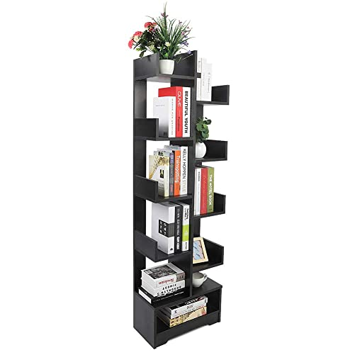 Ejoyous Modern Tree Bookshelf, Free Standing Book Case Wood Open Storage Shelf Rack Display Stand Decor Furniture for Home Office Living Room Bedroom Books CDs Files Records Storage – Black