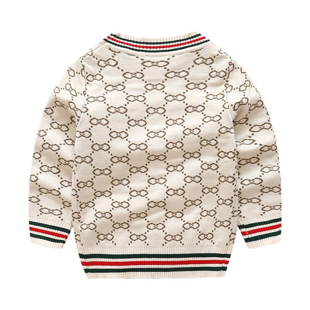 U-WARDROBE Baby Boy V-Neck Cotton Knit Button Long Sleeve Striped Cardigan Sweater Jacket
