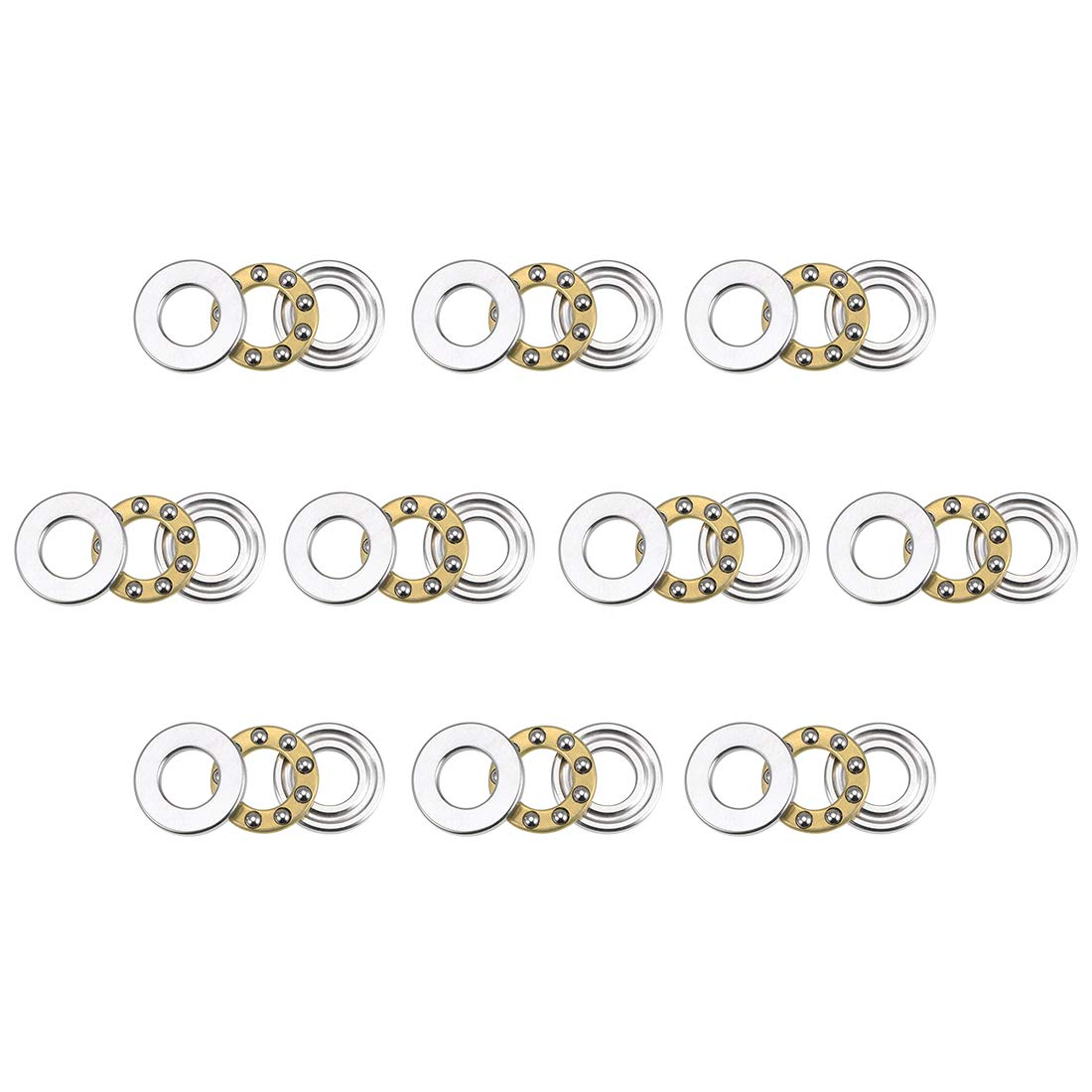 uxcell F6-12M Miniature Thrust Ball Bearings 6mm x 12mm x 4.5mm Chrome Steel with Washers 10 Pcs