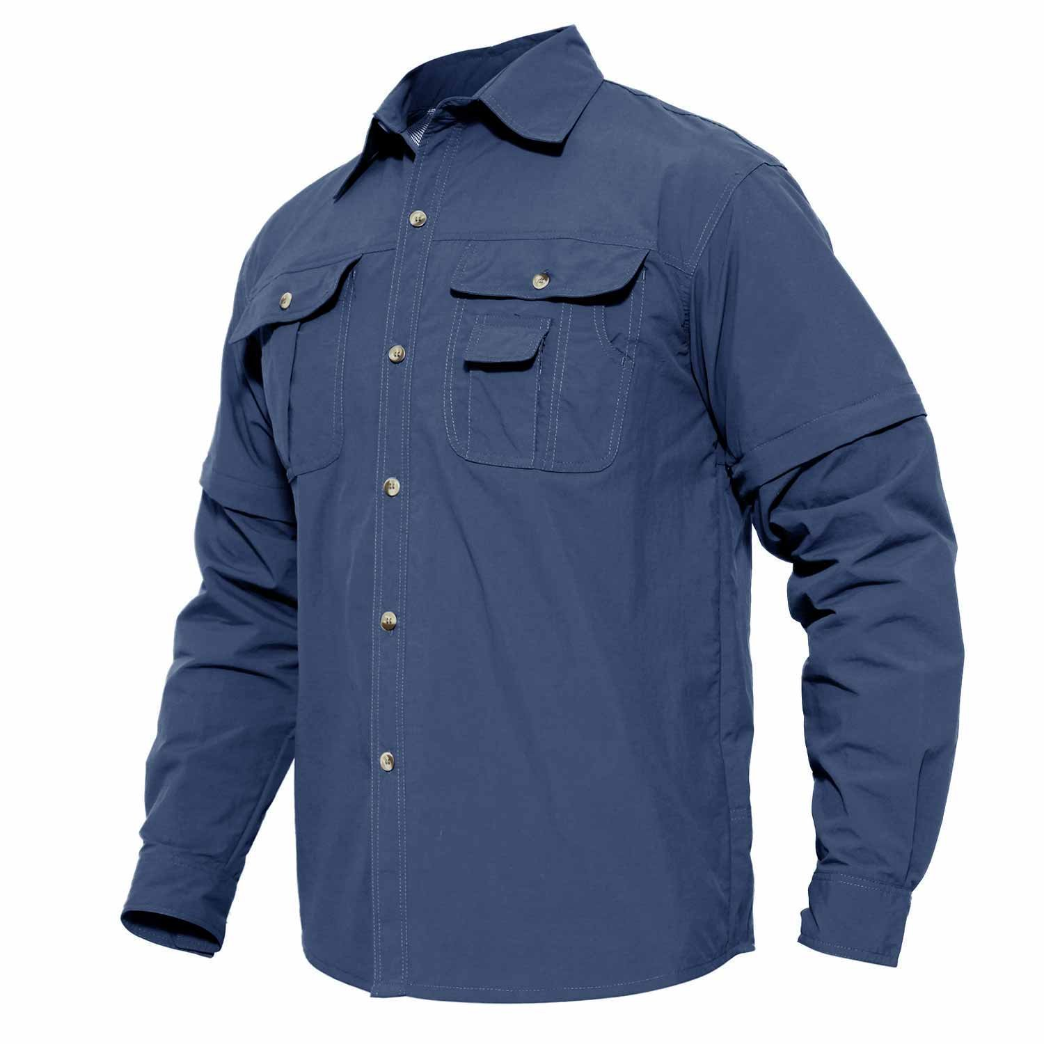 MAGCOMSEN Men's Highly Breathable and Quick Dry Long Sleeve Woven UPF Hunting Shirt with