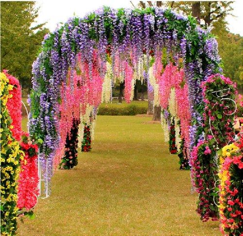 Ayygift-Set-of-12-Artifical-Wisteria-String-Wedding-Decor-Hanging-Silk-Flower-String-NEW