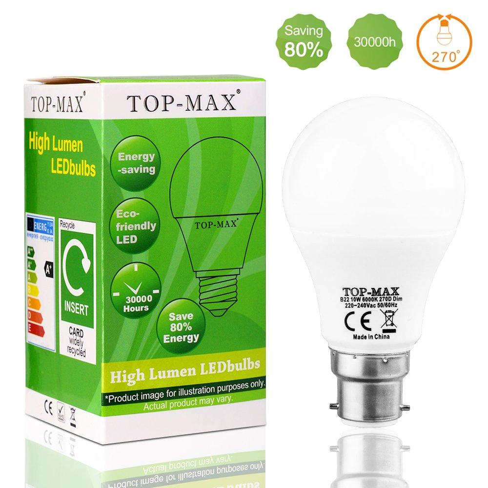 1 pieza B22 10 W regulable LED luz bombilla lámpara de ahorro de energía de bayoneta 60 W bombillas incandescentes equivalente, 6000 K Blanco de día fría ...