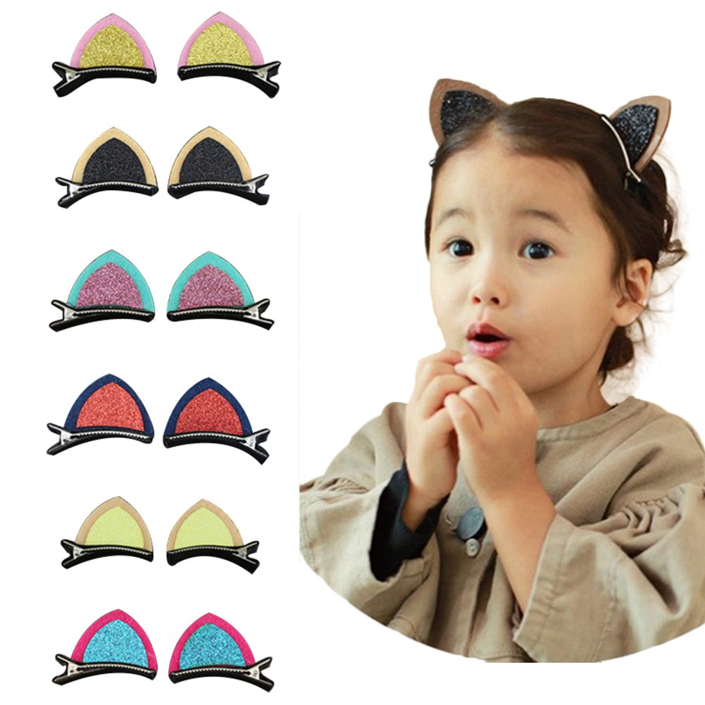 6Pairs Cute Cat Ears Hair Clip Hairpin for Toddlers Baby Girls Child Barrette Accessories