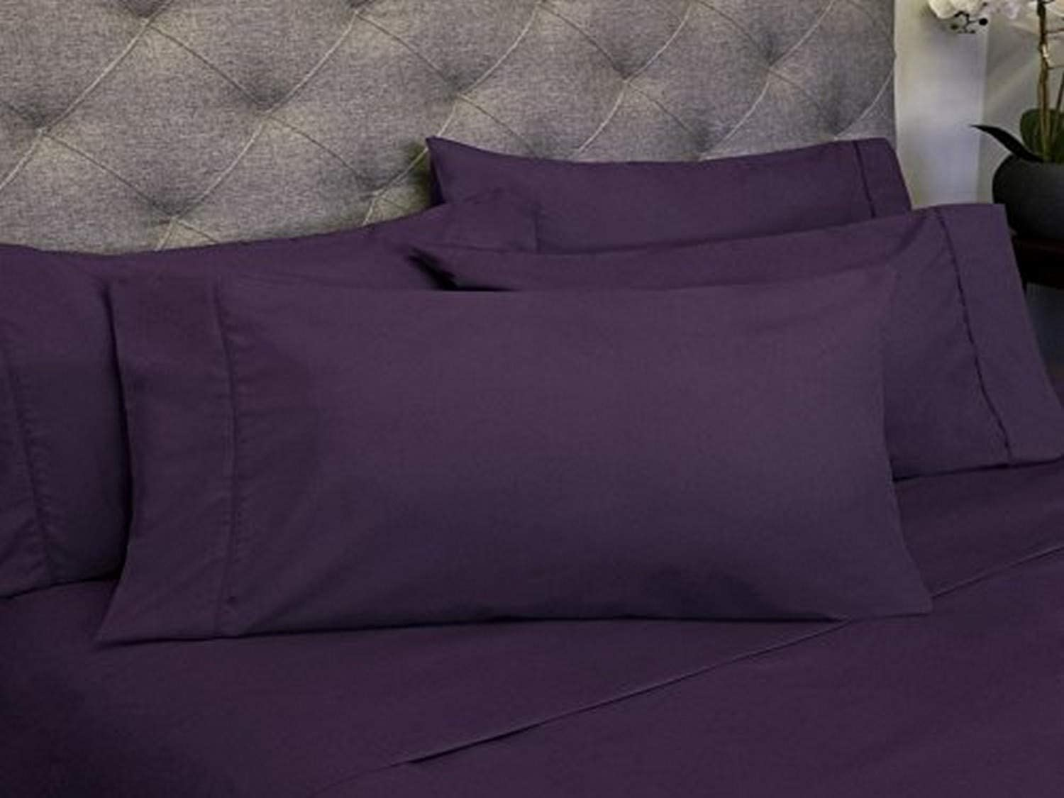 Sweet Home Collection 6 Piece 1800 Count Olivia Branch Microfiber Bedroom Sheet Set, California King, Purple