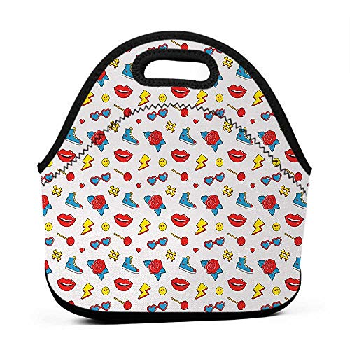 Large Size Reusable Lunch Handbag Emoji,Hipster Pop Art Theme 90s Fashion Comic Book Figures Lollipop Shoes Lips Roses,Yellow Red Blue,big lunch bag for men -