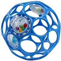 """Bright Starts Oball Rattle Easy-Grasp Toy - Blue, 4"""", Ages Newborn+"""