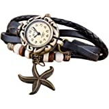 Liroyal Retro Weave Wrap Around Leather Bracelet Lady Wrist Watch Quartz Watch