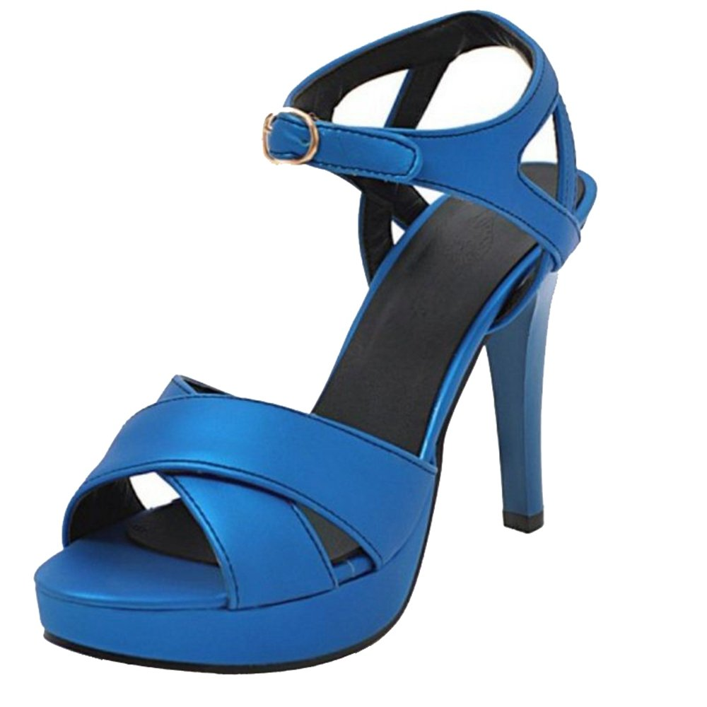 Onewus Fashon Damen Sandalen mit Stiletto Absatz Peep Toe Schuhe Party Blau