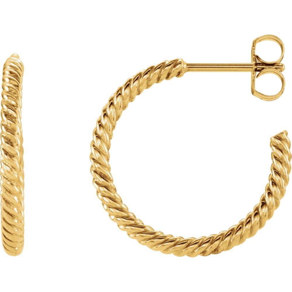 FB Jewels 14K Yellow Gold 17mm Rope Design Hoop Earrings