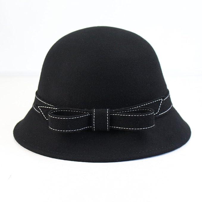 TYGRR Otoño E Invierno Damas Sombreros De Lana Sombreros De Moda Casuales  Sombreros De Señoras Con Cúpula Pajaritas Bombines 2eb508996e5