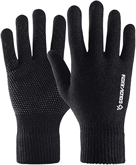 Thermal Knitted Winter Gloves Men Women Thick Warm Windproof Touchscreen Sport Gloves Outdoor Full Finger Gloves for Dress Driving Motorcycle Running ...