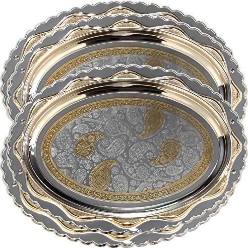 Maro Megastore (Pack of 4) 17.7-Inch x 13-Inch Oval Gold Floral Engraved Chrome Plated Serving Tray Decorative Holiday Wedding Birthday Buffet Party Dessert Food Wine Mirror Platter 2460 M Ts-066