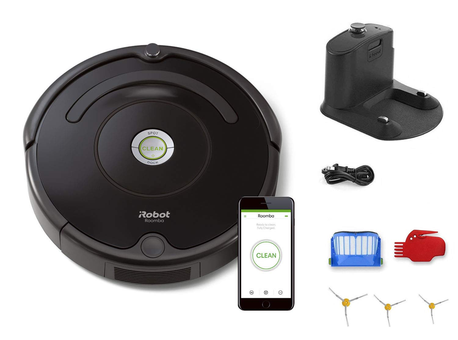 iRobot Roomba 675 Robot Vacuum Bundle - Wi-Fi Connected, Ideal for Pet Hair (+3 Extra Edge-Sweeping Brushes) (8 Items)