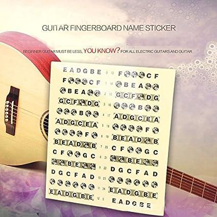 Xinzhi Pegatinas de Escala de Guitarra Entrenador de Guitarra, diapasón codificado Mapa Pegatinas de Nota
