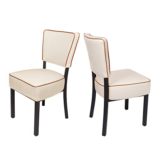 LUCKYERMORE Leather Side Chair Set of 2 Kitchen Dining Room Chairs with Thick Upholstered Seat and Backrest, Beige