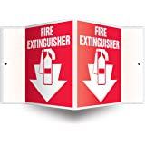 """Accuform Signs PSP113 Projection Sign 3D, Legend """"FIRE EXTINGUISHER (ARROW)"""", 6"""" x 5"""" Panel, 0.10"""" Thick High-Impact Plastic, Pre-Drilled Mounting Holes, White on Red"""