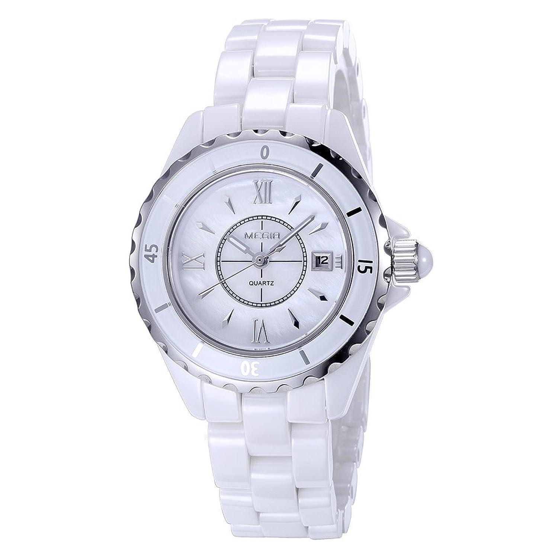 baogela Damen Fashion Weiß Uhren mit Keramik Armband - Zifferblatt Luxus akzentuierten Kleid