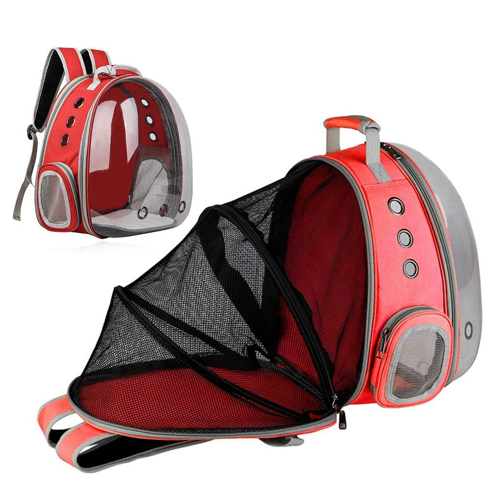 Red FOONEE Pet Carrier Backpack, Portable Space Capsule Transparent Backpack for Cats and Puppies, Foldable Breathable Pet Travel Backpack, Ventilated Design with Safety Locks Pet Bubble Dome Knapsack