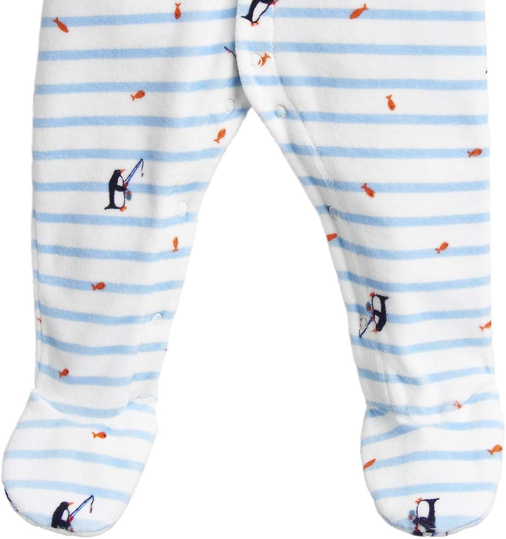 Joules Baby Velour Babygrow Blue Stripe Fishing