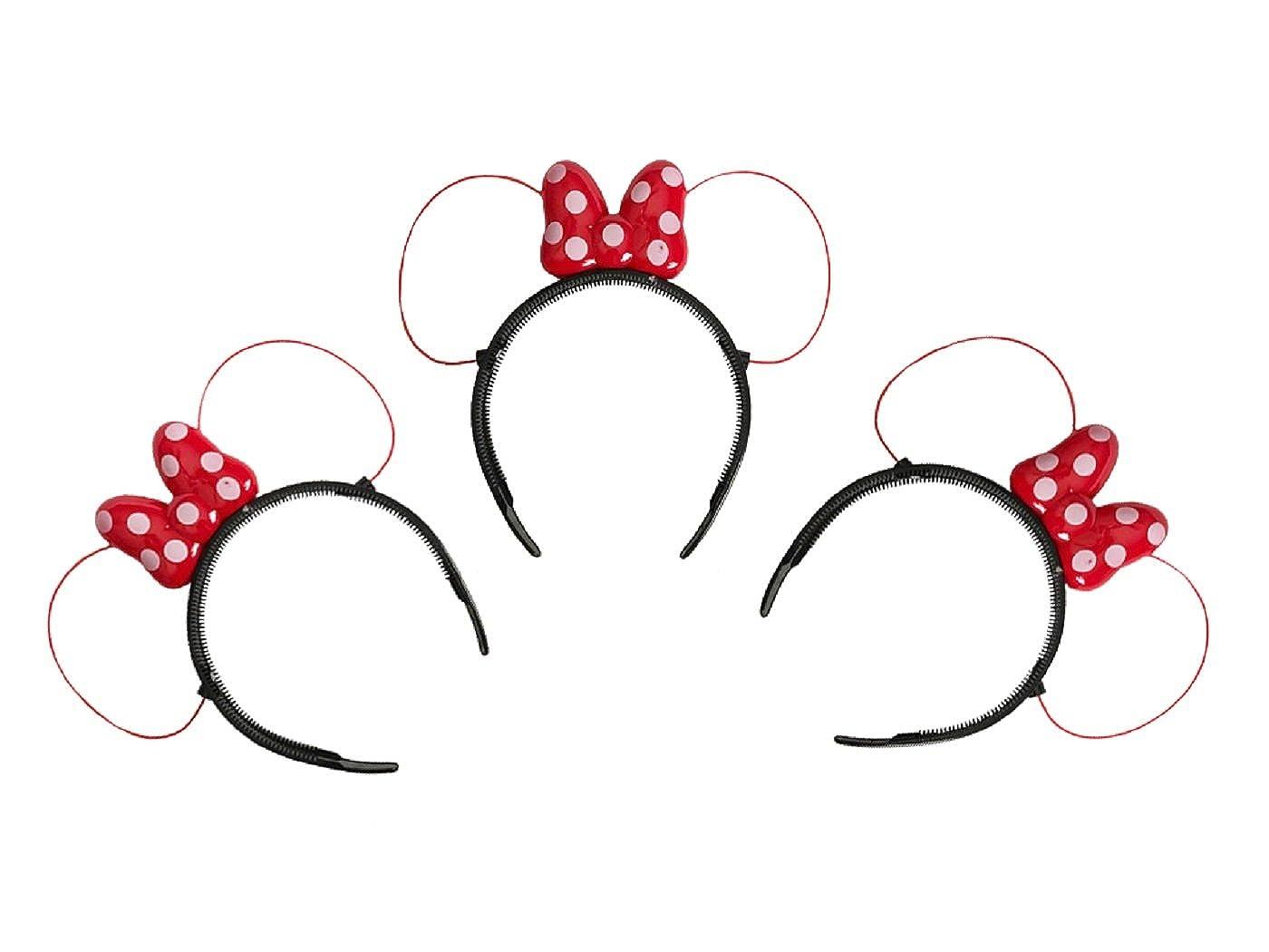 LED Minnieマウス耳とヘッドバンド赤でカラーwith Polka Dots – Set of 3 。   B075ZPFL4V