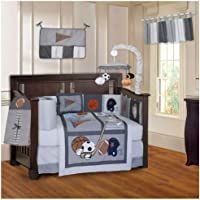 BabyFad Sports Champion Grey 10 Piece Baby Crib Bedding Set