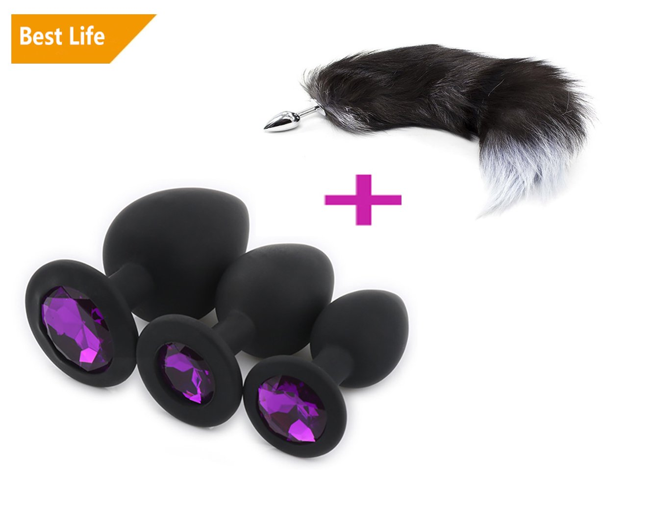 3 Pcs 3 Size Plugs Set with Fox Tail Trainer Toys for You and Your Lover (A) Baumor
