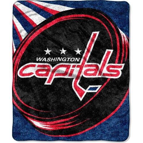 The Northwest Company Officially Licensed NHL Washington Capitals Puck Sherpa on Sherpa Throw Blanket, 50'' x 60'', Multi Color by The Northwest Company