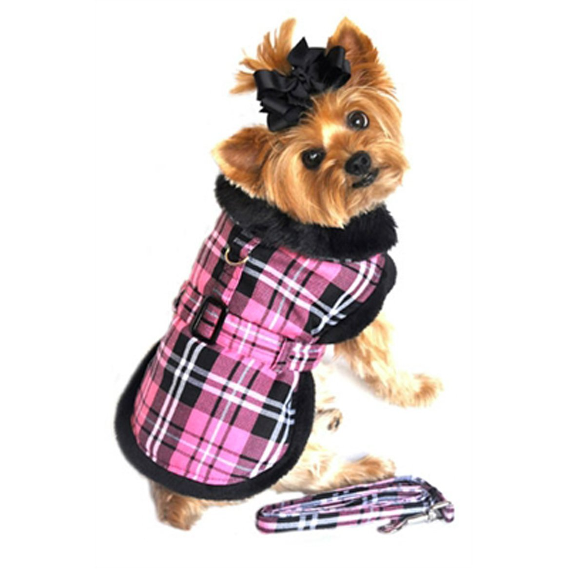 XS (10\ Doggie Design Pink Classic Plaid Wool fur Collared Harness Coat W leash Size X-Small (Chest 10-13  , Neck 7-10', weight 3-6Lbs.)