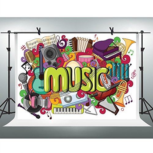 FHZON 10x7ft Various Musical Instruments Photography Backdrop Music Enthusiast Children Background Themed Party YouTube Backdrops Photo Booth Studio Props GEFH126]()