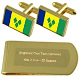 St. Vincent & les Grenadines or drapeau-ton de manchette argent gravé Collier Cadeau
