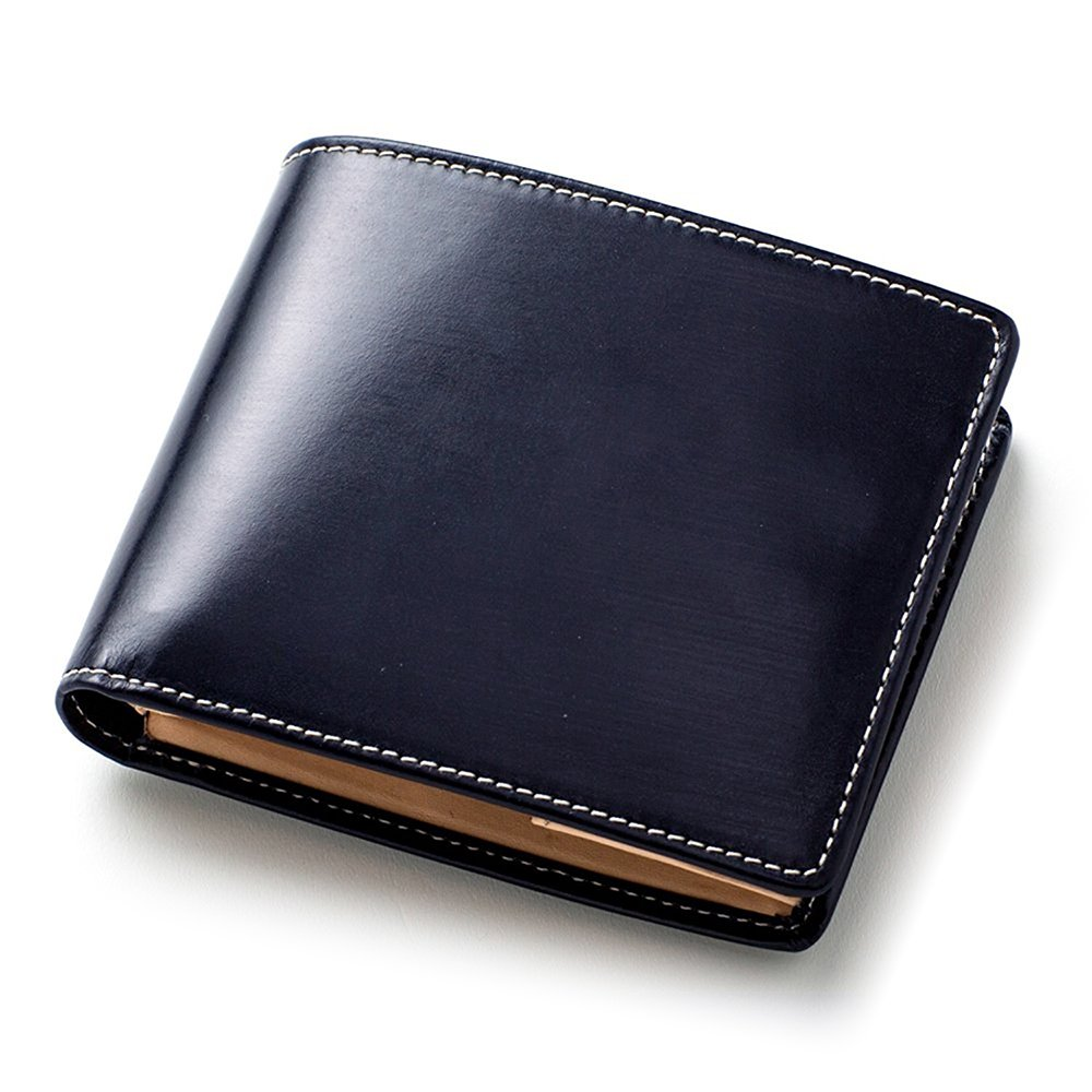 [ブリティッシュグリーン] ブライドルレザー 二つ折り財布 メンズ 本革 NEWモデル B06XFPBVJJ 04.ネイビー 04.ネイビー