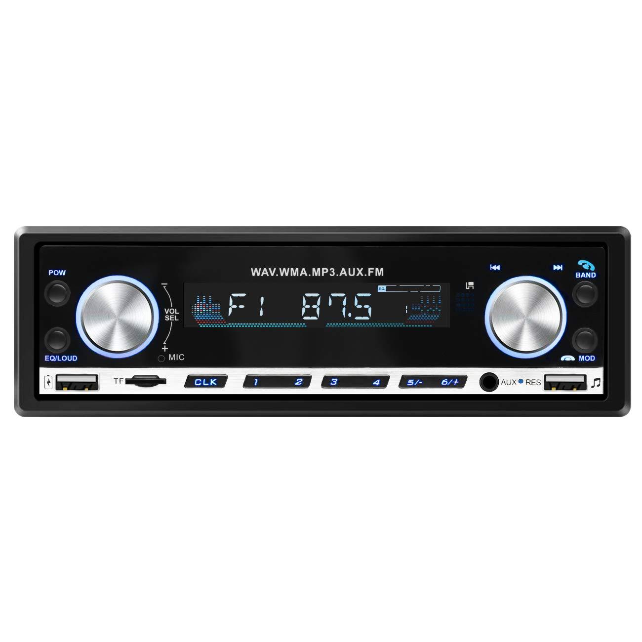 Favoto Autoradio Stereo Auto Bluetooth 4.2 Supporta Radio FM Riproduzione USB Micro SD AUX Chiamata in Vivavoce, Potenza 4 x 60W con Controllo Remoto FTEU-CarStereo-MP3-20168