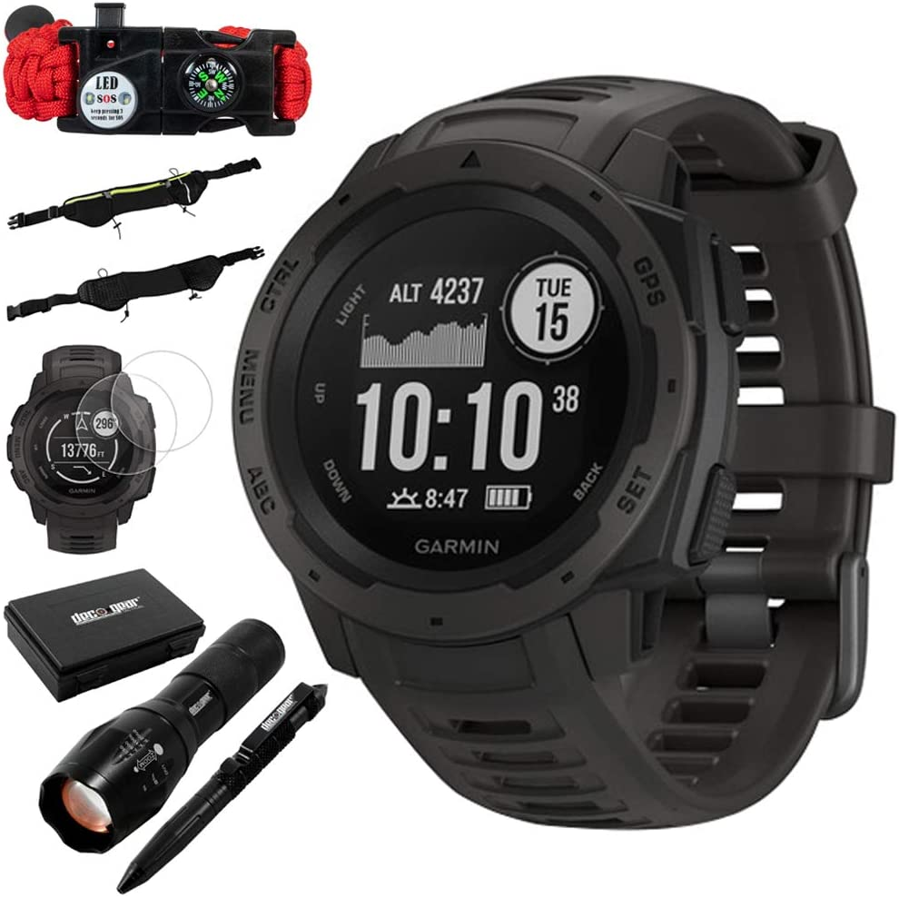 Garmin Instinct Rugged Outdoor Watch w GPS Heart Rate Monitoring, Graphite Accessories Bundle Includes, Tactical Emergency Bracelet, Tactical Flashlight Pen Set w Case, Zippered Waist Bag More