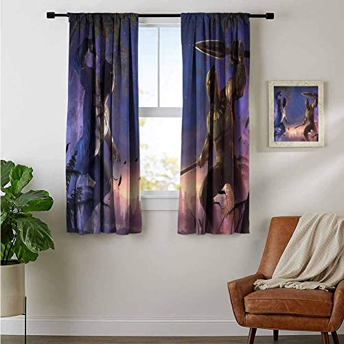 ZhiHdecor Decor Customized Curtains Black Panther and Erik Killmonger Contest of Champions Dv Decorative Curtains for Living Room
