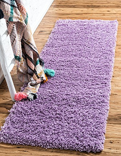 Collection Modern (Unique Loom Solo Solid Shag Collection Modern Plush Lilac Runner (2' x 6'))